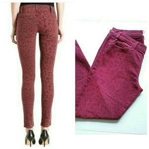 Current/Elliott Jeans - Current Elliott Red Leopard Skinny Ankle Jeans